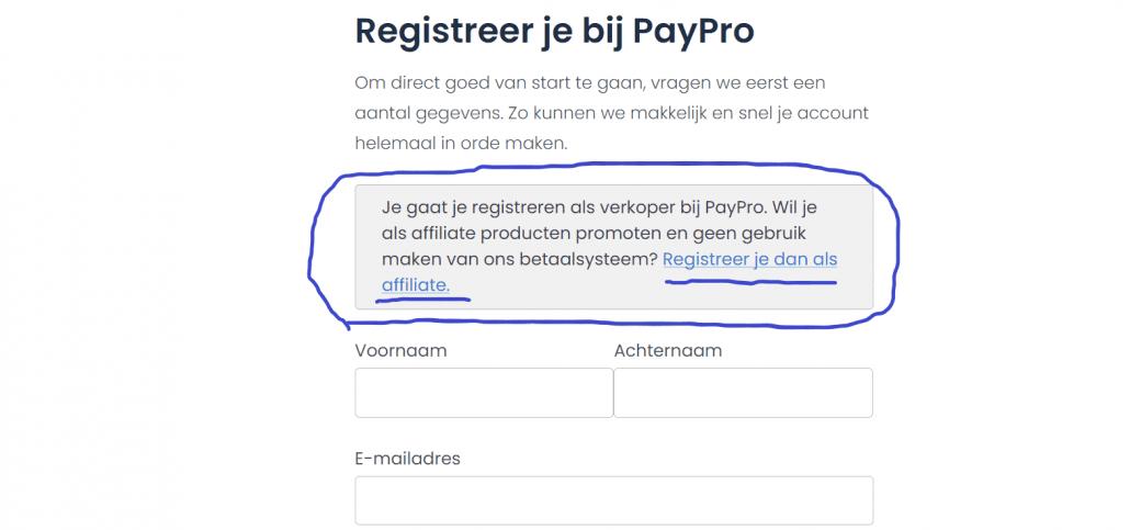 aanmelden affiliate paypro